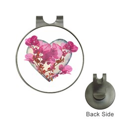 Heart Shaped With Flowers Digital Collage Hat Clip With Golf Ball Marker by dflcprints