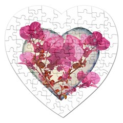 Heart Shaped With Flowers Digital Collage Jigsaw Puzzle (heart) by dflcprints