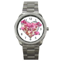 Heart Shaped with Flowers Digital Collage Sport Metal Watch by dflcprints