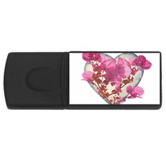 Heart Shaped With Flowers Digital Collage 4gb Usb Flash Drive (rectangle) by dflcprints