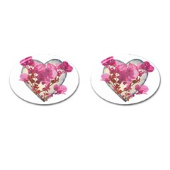 Heart Shaped With Flowers Digital Collage Cufflinks (oval) by dflcprints