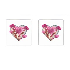 Heart Shaped With Flowers Digital Collage Cufflinks (square) by dflcprints