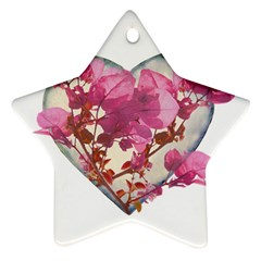 Heart Shaped With Flowers Digital Collage Star Ornament (two Sides) by dflcprints