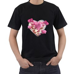 Heart Shaped With Flowers Digital Collage Men s T Shirt (black) by dflcprints