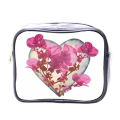 Heart Shaped With Flowers Digital Collage Mini Travel Toiletry Bag (one Side) by dflcprints