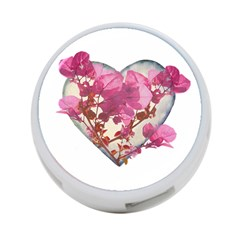 Heart Shaped With Flowers Digital Collage 4 Port Usb Hub (one Side) by dflcprints