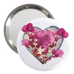 Heart Shaped with Flowers Digital Collage 3  Handbag Mirror by dflcprints