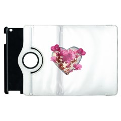 Heart Shaped With Flowers Digital Collage Apple Ipad 2 Flip 360 Case by dflcprints