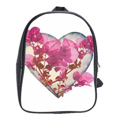 Heart Shaped With Flowers Digital Collage School Bag (xl) by dflcprints