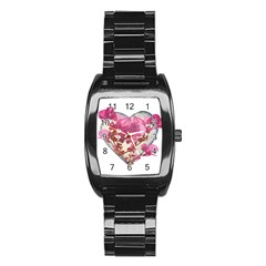 Heart Shaped With Flowers Digital Collage Stainless Steel Barrel Watch
