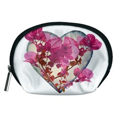 Heart Shaped with Flowers Digital Collage Accessory Pouch (Medium) by dflcprints