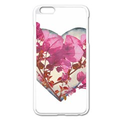Heart Shaped With Flowers Digital Collage Apple Iphone 6 Plus Enamel White Case by dflcprints