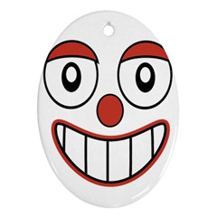 Happy Clown Cartoon Drawing Oval Ornament by dflcprints