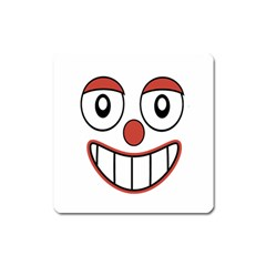 Happy Clown Cartoon Drawing Magnet (square) by dflcprints