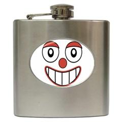 Happy Clown Cartoon Drawing Hip Flask by dflcprints
