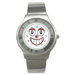Happy Clown Cartoon Drawing Stainless Steel Watch (slim) by dflcprints