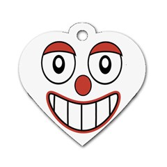 Happy Clown Cartoon Drawing Dog Tag Heart (one Sided)  by dflcprints