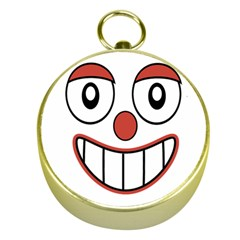 Happy Clown Cartoon Drawing Gold Compass by dflcprints