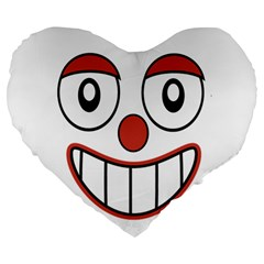 Happy Clown Cartoon Drawing 19  Premium Flano Heart Shape Cushion