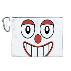 Happy Clown Cartoon Drawing Canvas Cosmetic Bag (large) by dflcprints