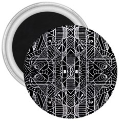 Black And White Tribal Geometric Pattern Print 3  Button Magnet by dflcprints