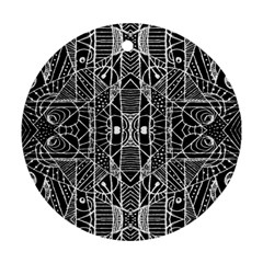 Black And White Tribal Geometric Pattern Print Round Ornament by dflcprints