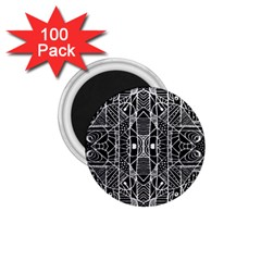 Black And White Tribal Geometric Pattern Print 1 75  Button Magnet (100 Pack) by dflcprints