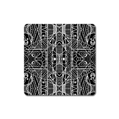 Black And White Tribal Geometric Pattern Print Magnet (square) by dflcprints