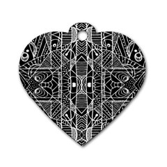 Black And White Tribal Geometric Pattern Print Dog Tag Heart (one Sided)  by dflcprints