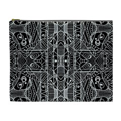 Black And White Tribal Geometric Pattern Print Cosmetic Bag (xl) by dflcprints