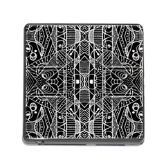 Black And White Tribal Geometric Pattern Print Memory Card Reader With Storage (square) by dflcprints