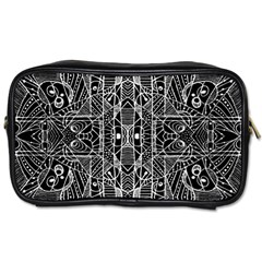 Black And White Tribal Geometric Pattern Print Travel Toiletry Bag (two Sides) by dflcprints