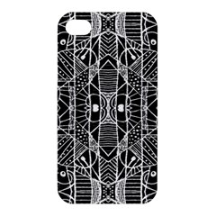 Black And White Tribal Geometric Pattern Print Apple Iphone 4/4s Premium Hardshell Case by dflcprints