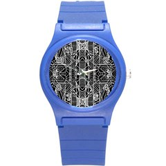 Black And White Tribal Geometric Pattern Print Plastic Sport Watch (small) by dflcprints