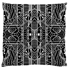 Black And White Tribal Geometric Pattern Print Large Cushion Case (two Sided)  by dflcprints