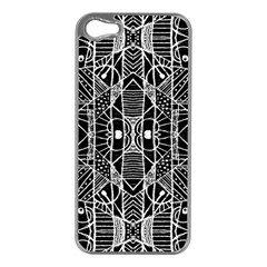 Black And White Tribal Geometric Pattern Print Apple Iphone 5 Case (silver) by dflcprints