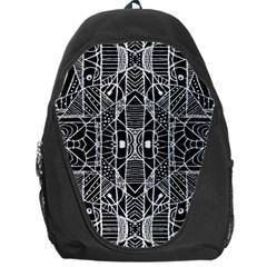 Black And White Tribal Geometric Pattern Print Backpack Bag by dflcprints