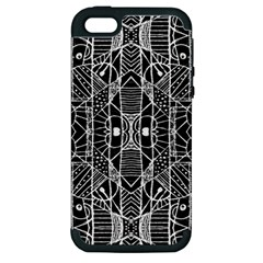 Black And White Tribal Geometric Pattern Print Apple Iphone 5 Hardshell Case (pc+silicone) by dflcprints