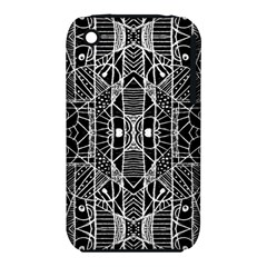 Black And White Tribal Geometric Pattern Print Apple Iphone 3g/3gs Hardshell Case (pc+silicone) by dflcprints
