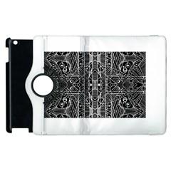 Black And White Tribal Geometric Pattern Print Apple Ipad 2 Flip 360 Case by dflcprints