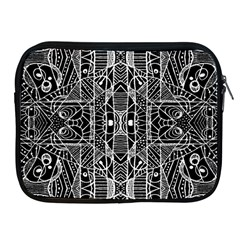 Black And White Tribal Geometric Pattern Print Apple Ipad Zippered Sleeve by dflcprints