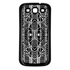 Black And White Tribal Geometric Pattern Print Samsung Galaxy S3 Back Case (black) by dflcprints