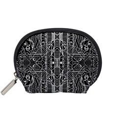 Black And White Tribal Geometric Pattern Print Accessory Pouch (small) by dflcprints