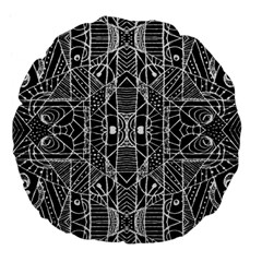 Black And White Tribal Geometric Pattern Print 18  Premium Flano Round Cushion  by dflcprints