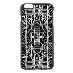 Black And White Tribal Geometric Pattern Print Apple Iphone 6 Plus Black Enamel Case by dflcprints