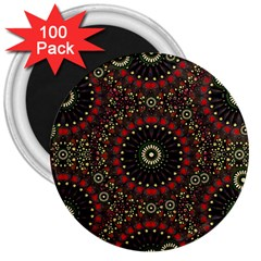 Digital Abstract Geometric Pattern In Warm Colors 3  Button Magnet (100 Pack) by dflcprints