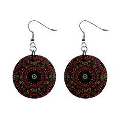 Digital Abstract Geometric Pattern In Warm Colors Mini Button Earrings