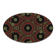 Digital Abstract Geometric Pattern In Warm Colors Magnet (oval) by dflcprints