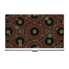 Digital Abstract Geometric Pattern In Warm Colors Business Card Holder by dflcprints