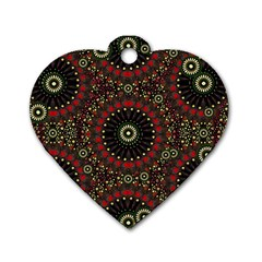 Digital Abstract Geometric Pattern In Warm Colors Dog Tag Heart (two Sided) by dflcprints